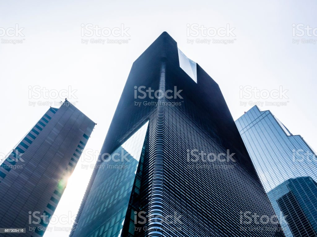 Seoul skyscrapers are in perspective from below. stock photo