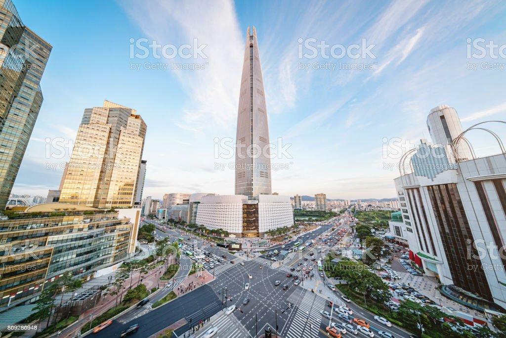 Seoul Songpagu Cityscape Skyscraper Lotte World Tower stock photo