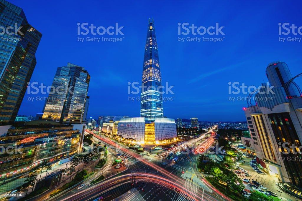Seoul Songpagu Skyscrapers Lotte World Tower at Night stock photo