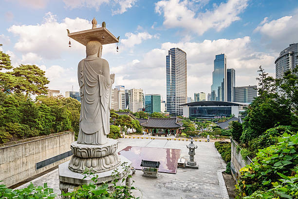 seoul south korea bongeunsa temple summer cityscape - ソウル ストックフォトと画像