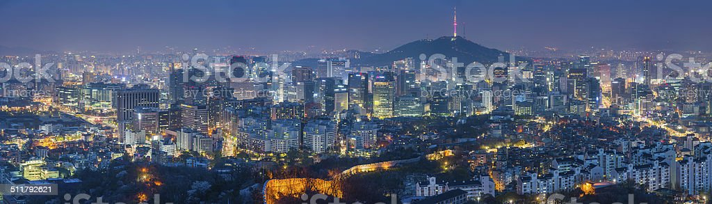 Seoul South Korea futuristic cityscape skyscrapers landmarks illuminated at night - Royalty-free Aerial View Stock Photo