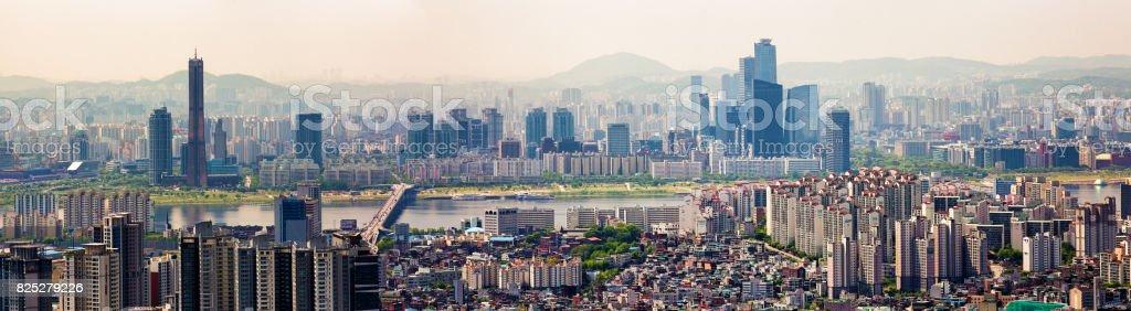 Seoul South Korea Skyline panoramic view Han River and Yeoeuido-dong area stock photo