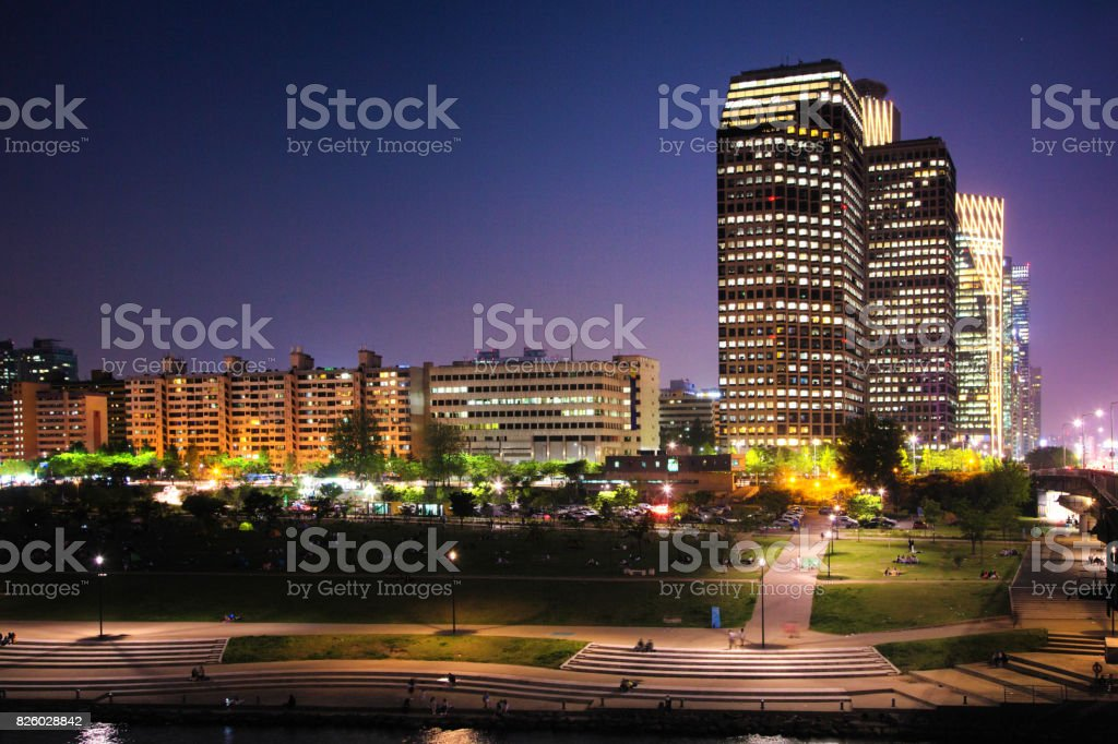 Seoul South Korea Skyline Yeoeuido-dong area at twilight with Han River boardwalk stock photo
