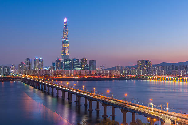 De subterráneo de Seúl y a Seúl Horizonte, Corea del Sur - foto de stock
