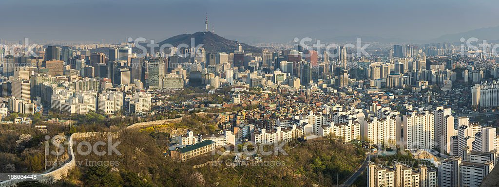 Seoul sunset cityscape panorama downtown skyscrapers Namsan tower Korea stock photo