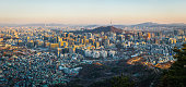 istock Seoul sunset panorama over crowded skyscraper cityscape South Korea 1221338222