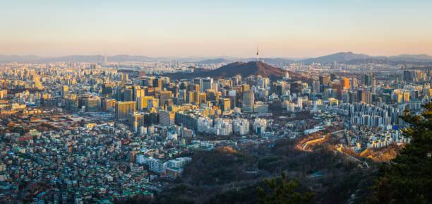 Seoul sunset panorama over crowded skyscraper cityscape South Korea stock photo