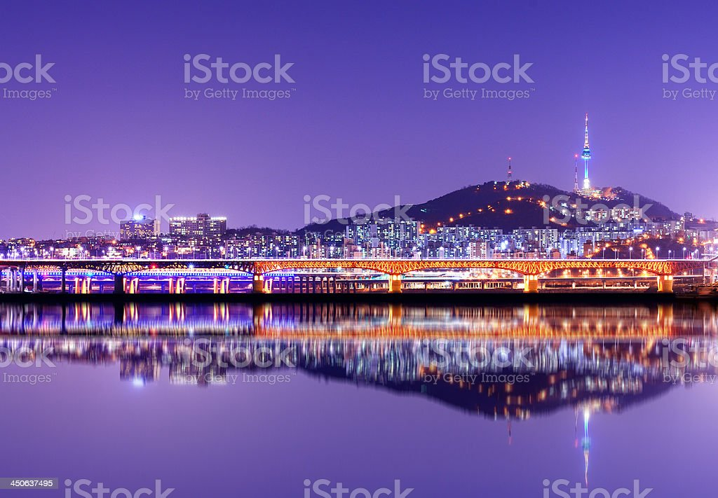 Seoul Tower reflection over the water royalty-free stock photo