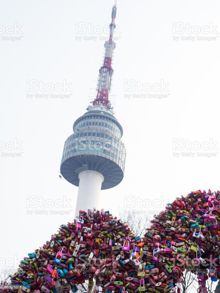 Seoul Tower with love locks royalty-free stock photo