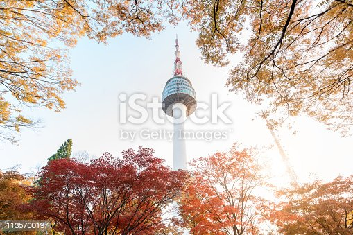 istock Seoul Tower with yellow and red autumn maple leaves at Namsan mountain in South Korea.