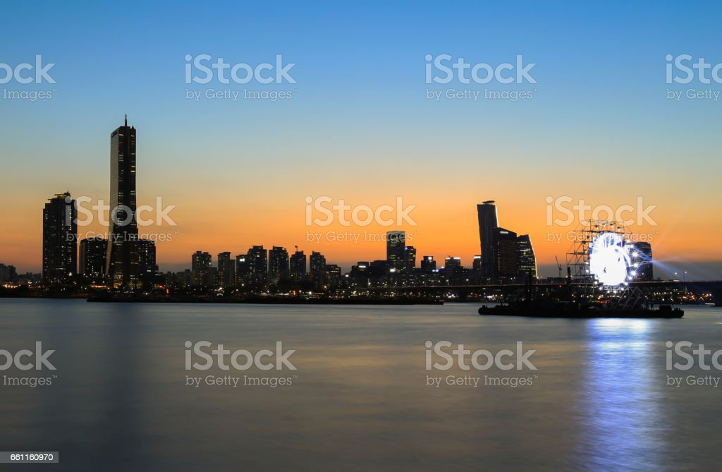 Seoul Twilight at Yeouido South Korea. stock photo