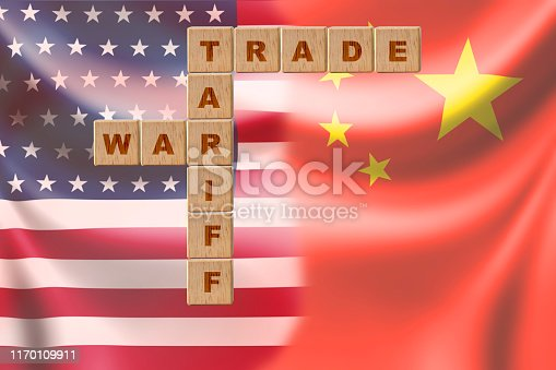 istock Separate of USA flag and China flag .It is symbol of economic tariff trade war crisis between United States of America and China which the biggest economic country in the world. 1170109911