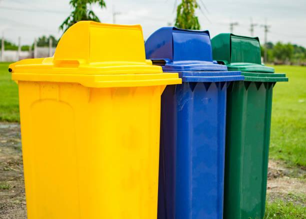 Separate trash bin stock photo