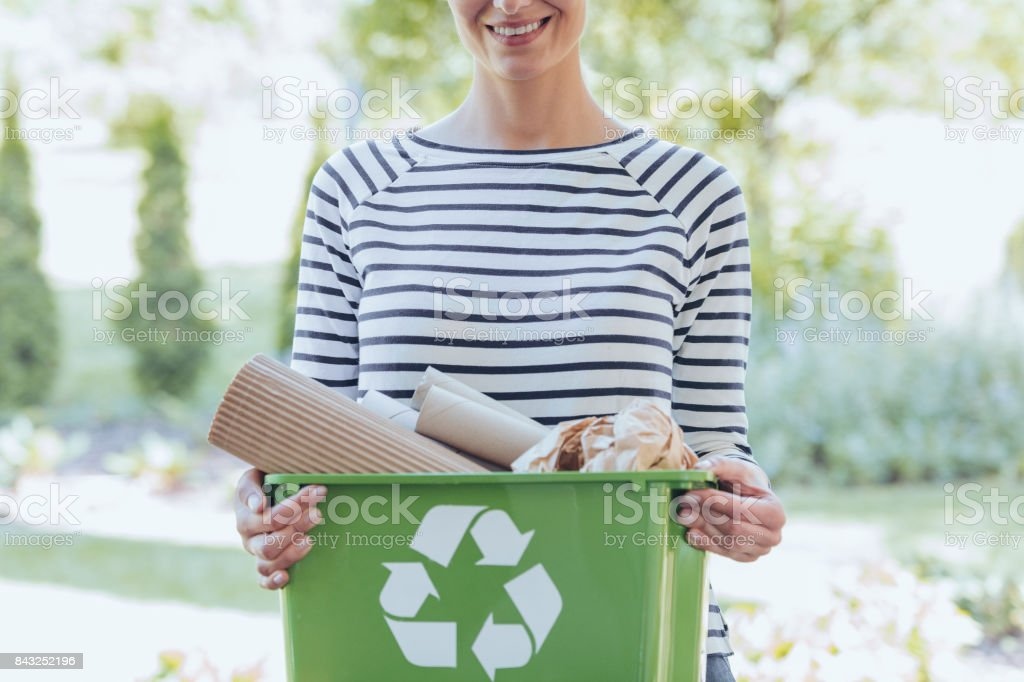Separating waste to save resources stock photo