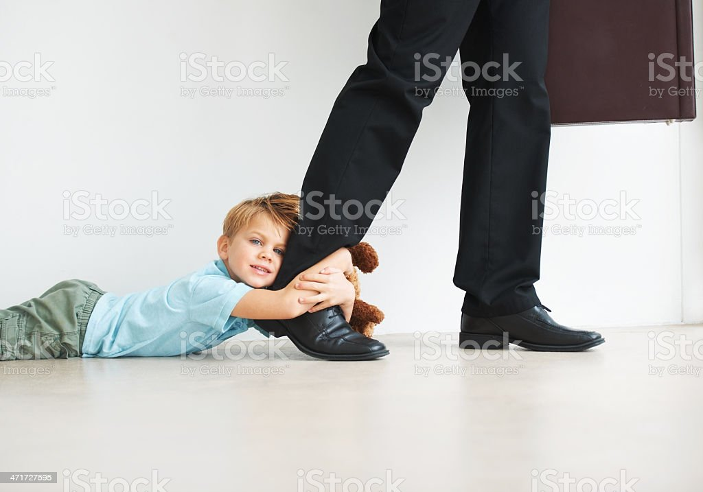 Separation anxiety in action stock photo