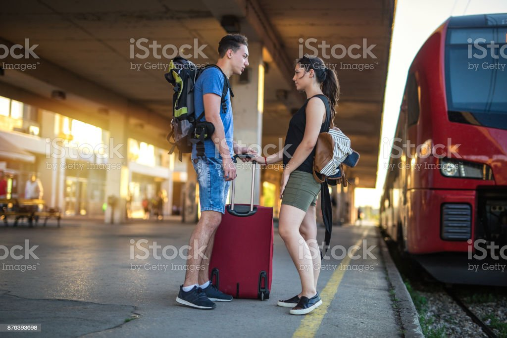 Separation of young couple stock photo