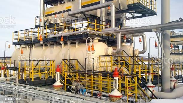 Photo of Separator. Equipment for oil separation. Modular oil treatment unit. Bulite for separation.