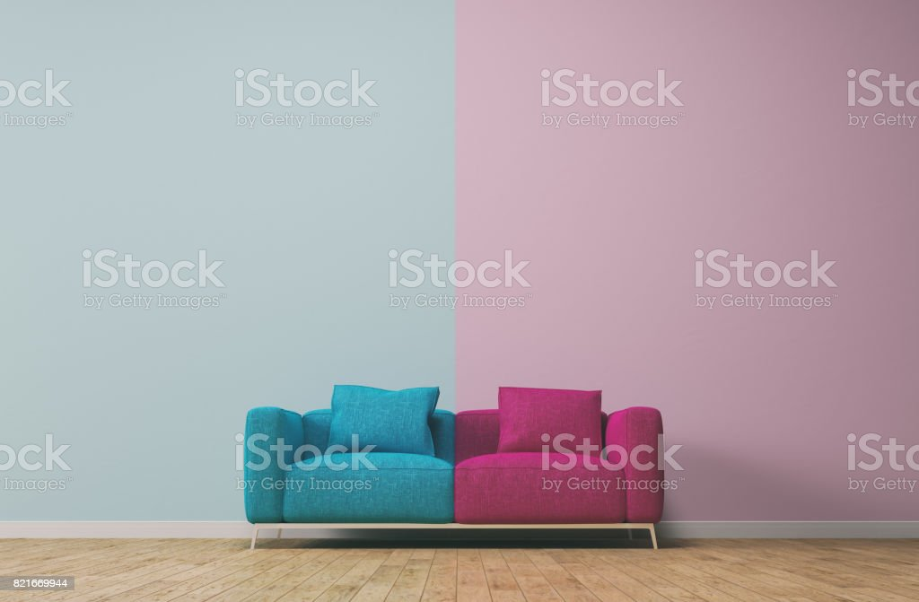 Seperation concept with pink and turquoise stock photo