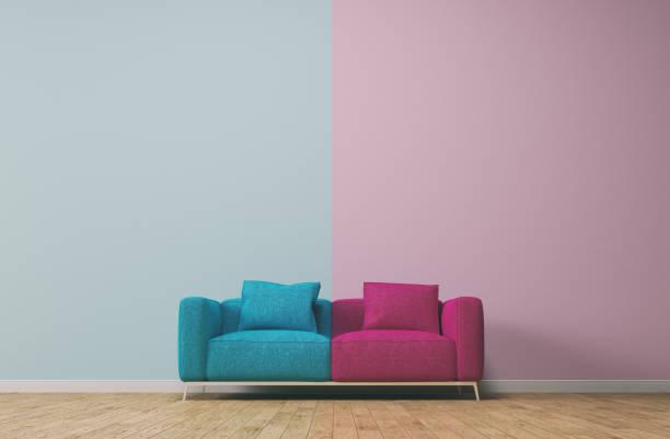 Conceito de separação com rosa e turquesa - foto de acervo