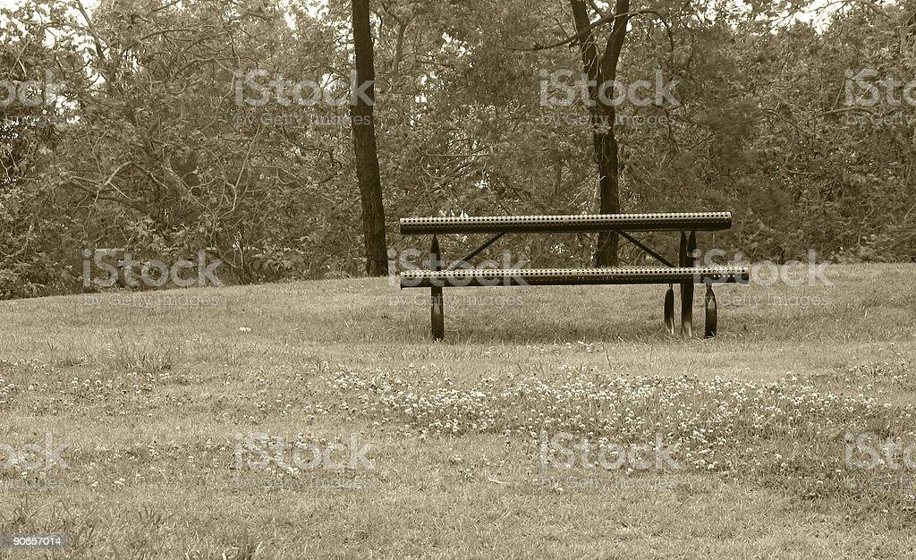 sepia bench royalty-free stock photo