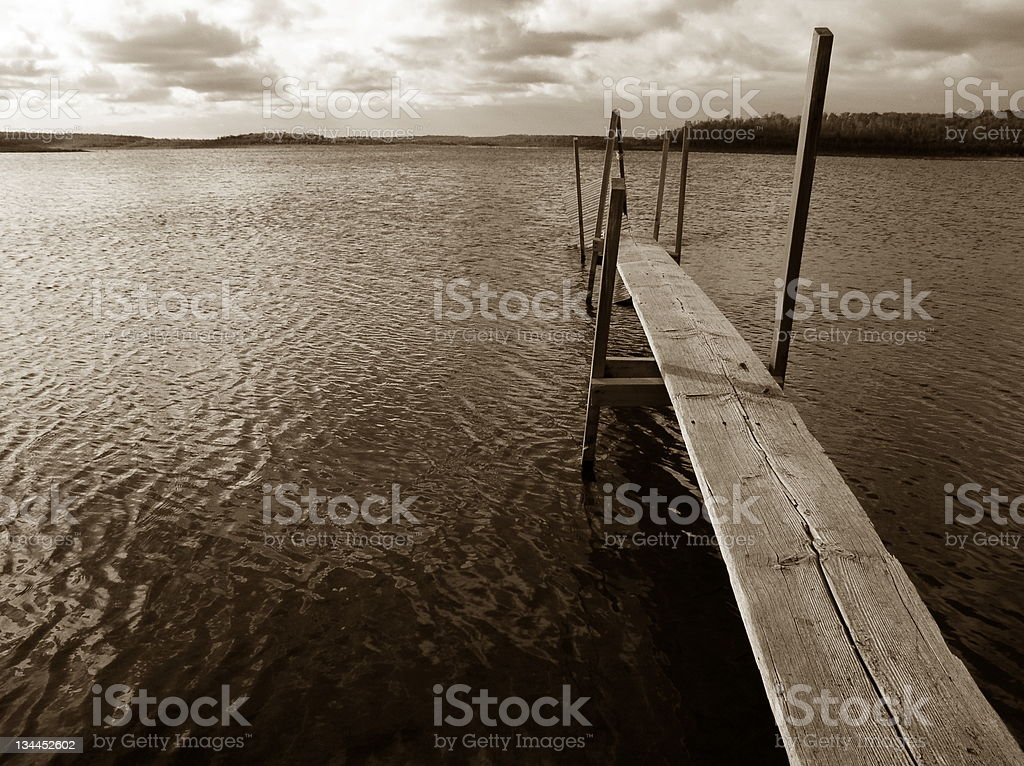 Sepia Boat Dock on Lake royalty-free stock photo