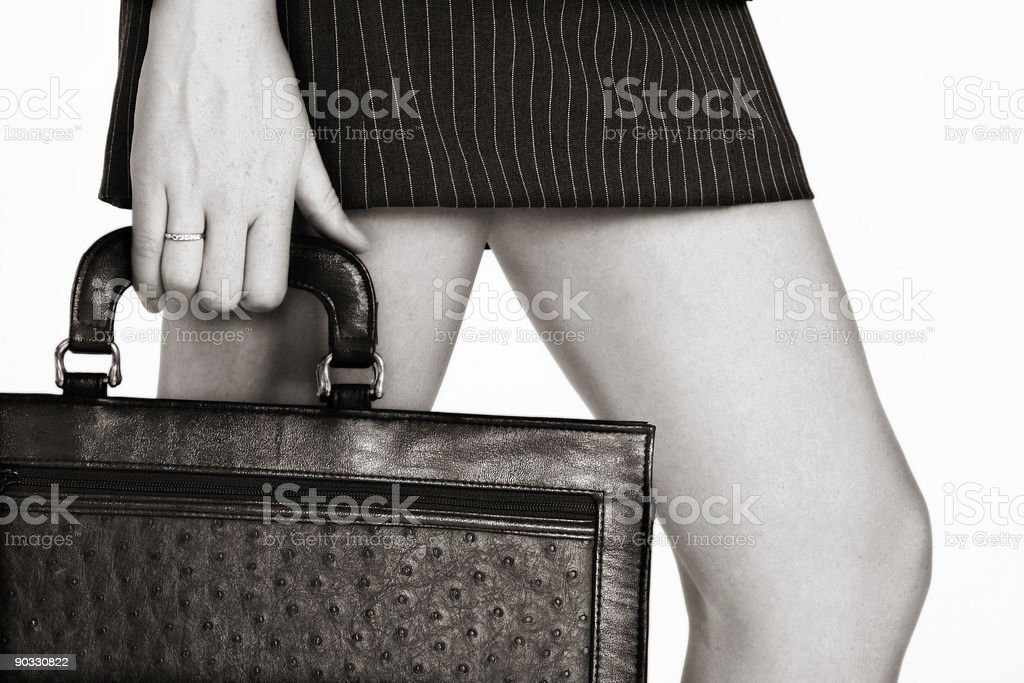 sepia businesswoman with a case royalty-free stock photo