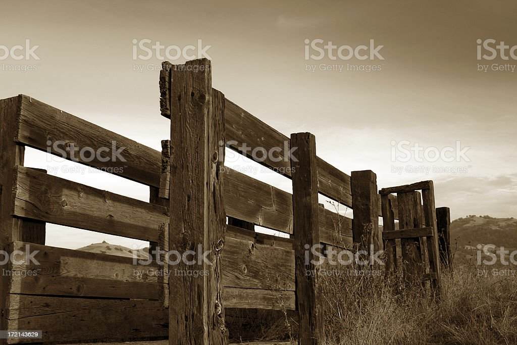 Sepia Cattle Ramp royalty-free stock photo