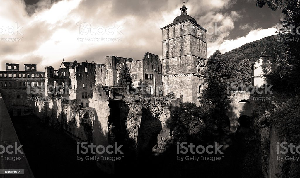 sepia color hdr of Heidelberg castle in Germany royalty-free stock photo