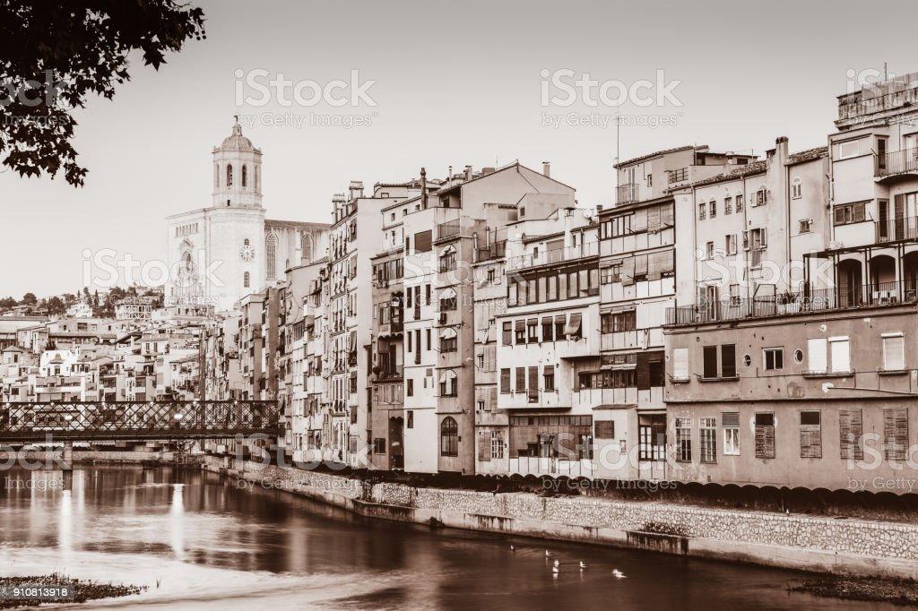 Sepia colors in Girona stock photo