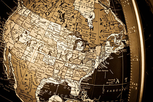 Sepia Map Closeup of United States of America on Globe stock photo