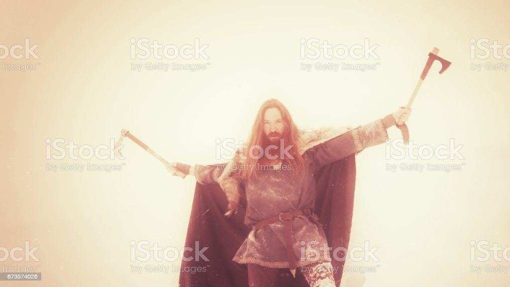 Sepia Medieval Winter Snow Viking Warrior, Animal Pelt, Cape royalty-free stock photo