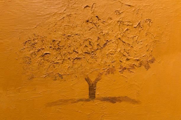 Sépia monochrome Art peinture: grand arbre - Photo