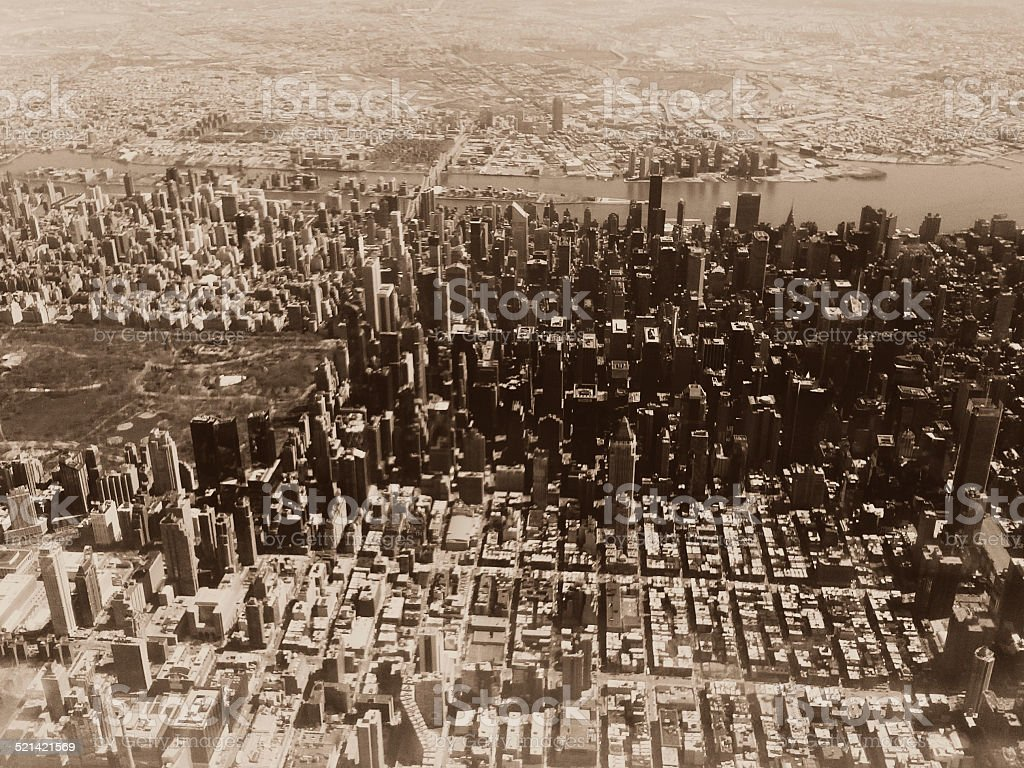 Sepia New York City Central Park Aerial View stock photo