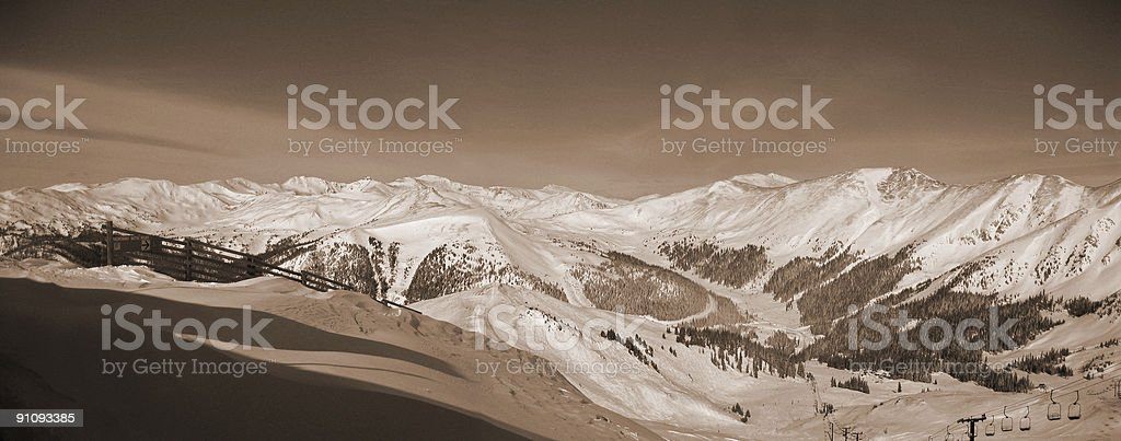 Sepia Panorama Ski Resort stock photo