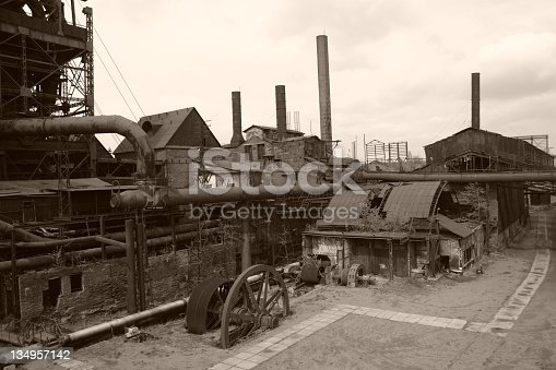 This is old steel mill as it was working in XVIII-XIX centuries. Full authentic constructions. Sepia colour give pretty authentic look.