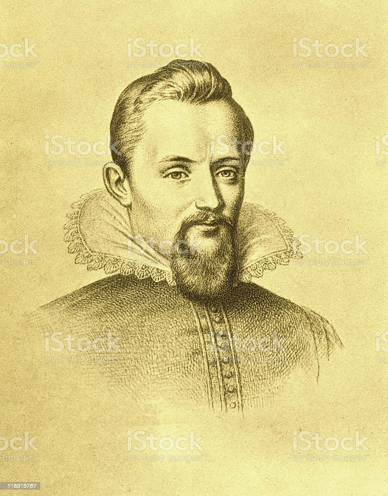 Sepia Portrait of Johannes Kepler stock photo