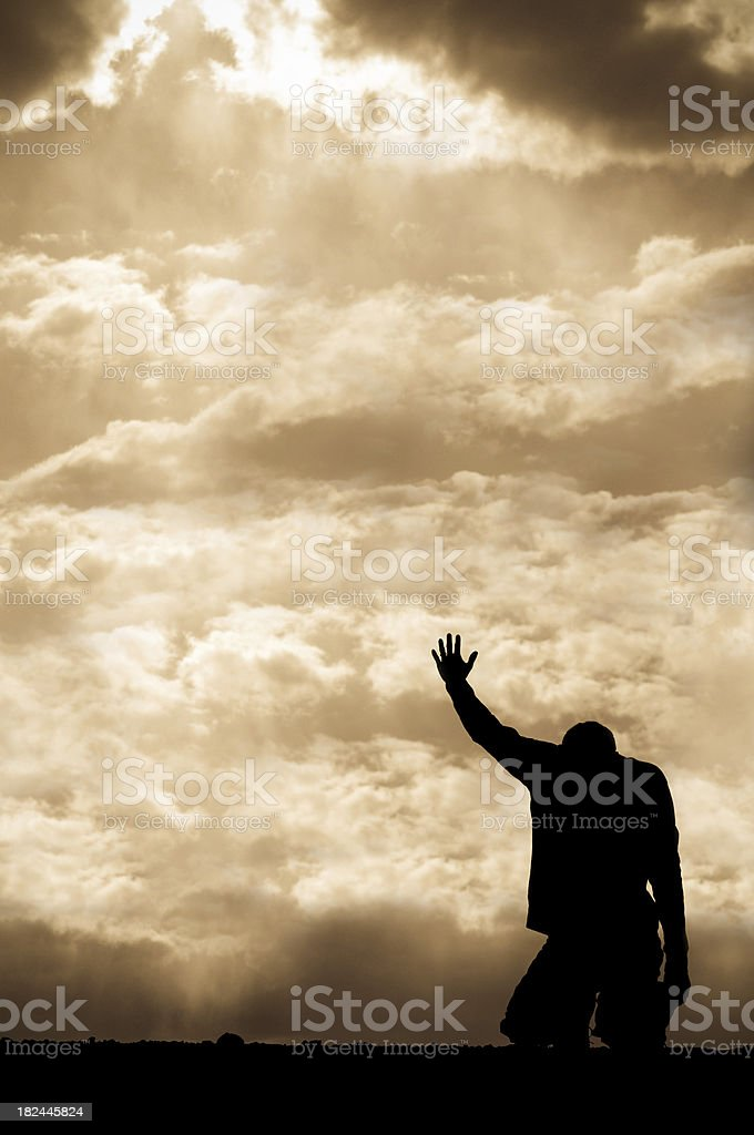 Sepia Prayer Silhouette royalty-free stock photo