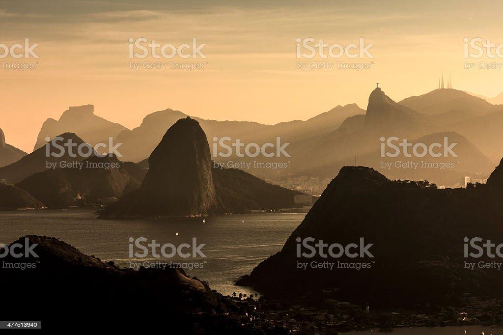 Sepia Rio de Janeiro Landscape in Hazy Afternoon stock photo