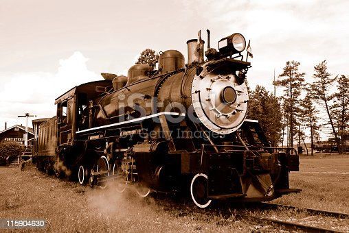 Sepia photo of a steam locomotive,Fort Steele Heritage Town,British Columbia,Canada.