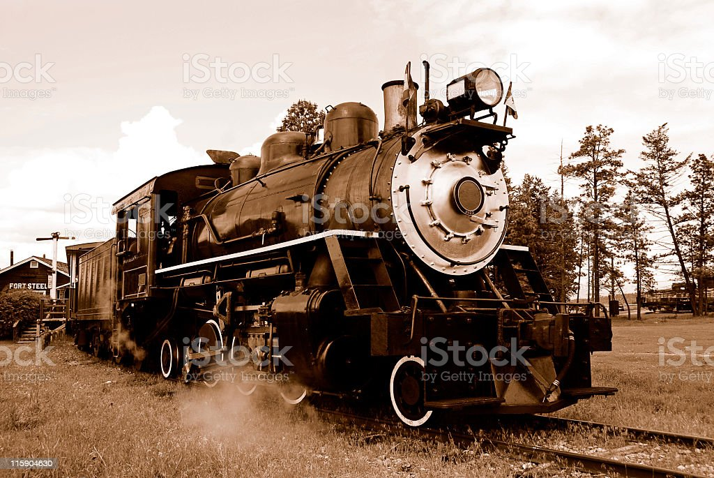 Sepia  steam locomotive, Fort Steele Heritage Town,British Columbia,Canada. stock photo
