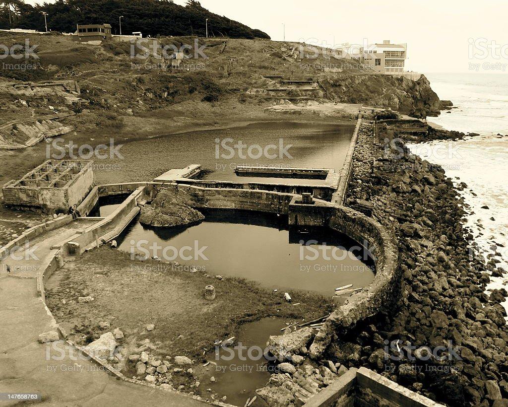 Sepia Sutro Baths Ruins stock photo