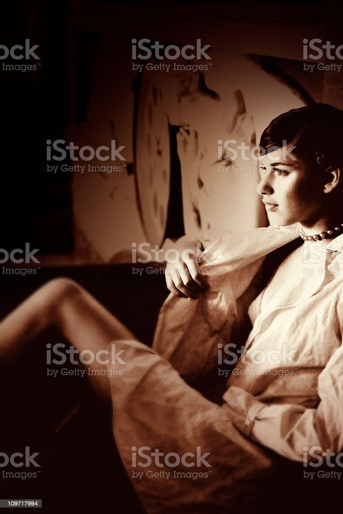 Sepia Tone Portrait of Young Woman royalty-free stock photo
