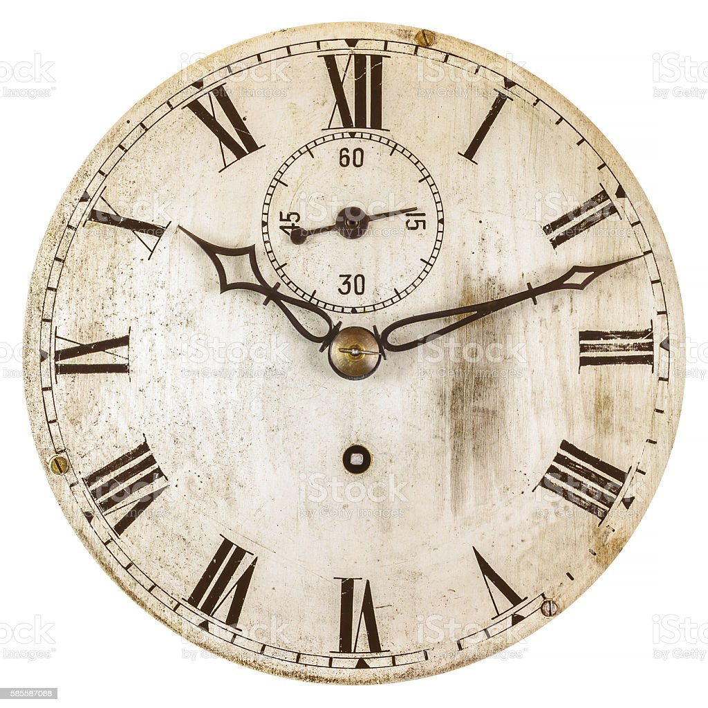 Sepia toned image of an old clock face stock photo