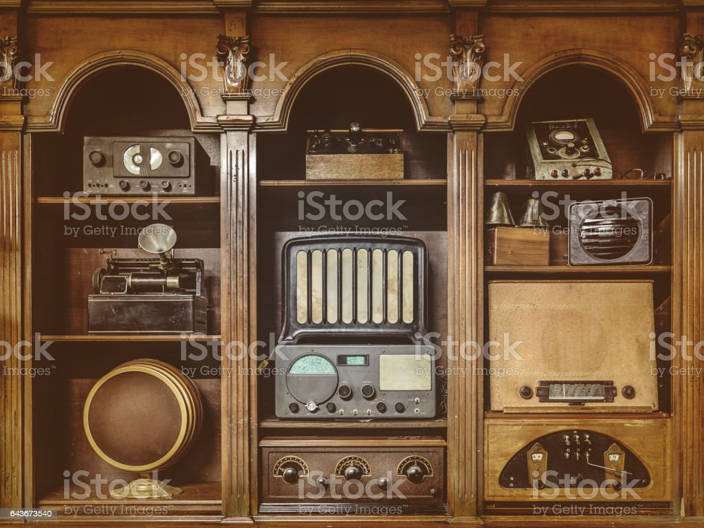 Sepia toned image of old radio's stock photo