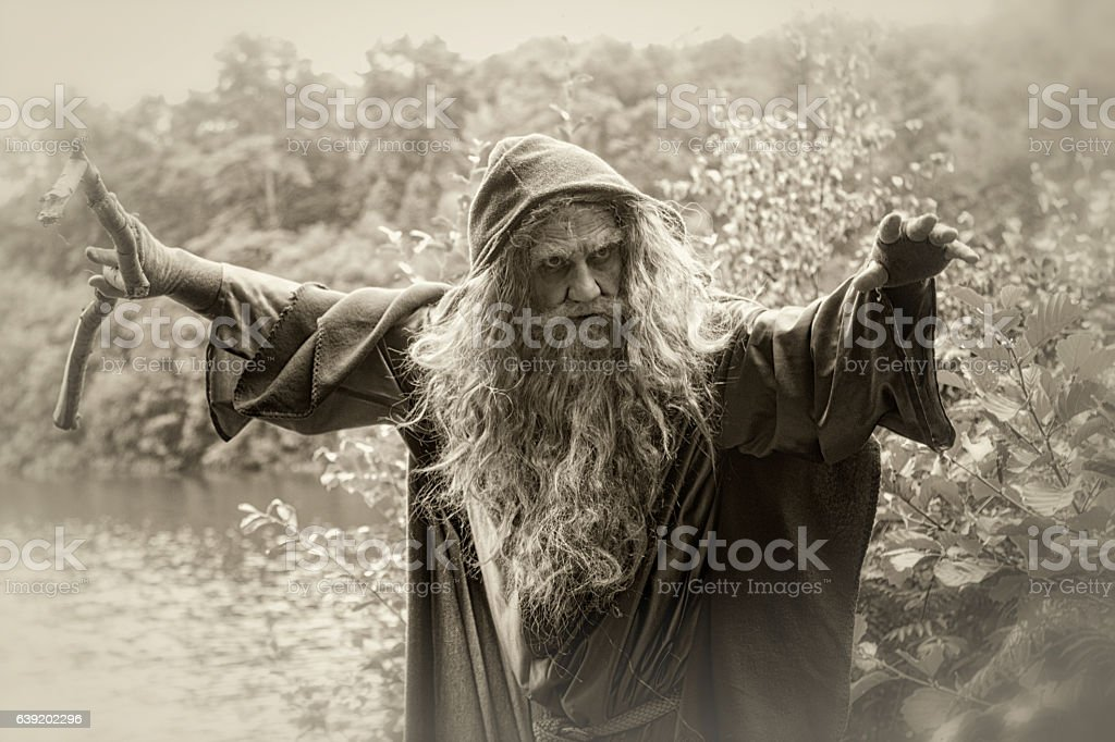 sepia toned image of wizard by lake stock photo