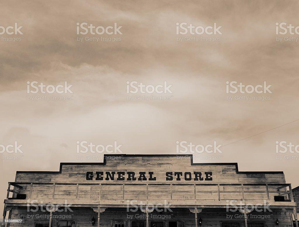 Sepia Toned Wild West Town stock photo