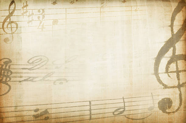 Sepia tones background with musical staves border Yellowed composition background sheet music stock pictures, royalty-free photos & images