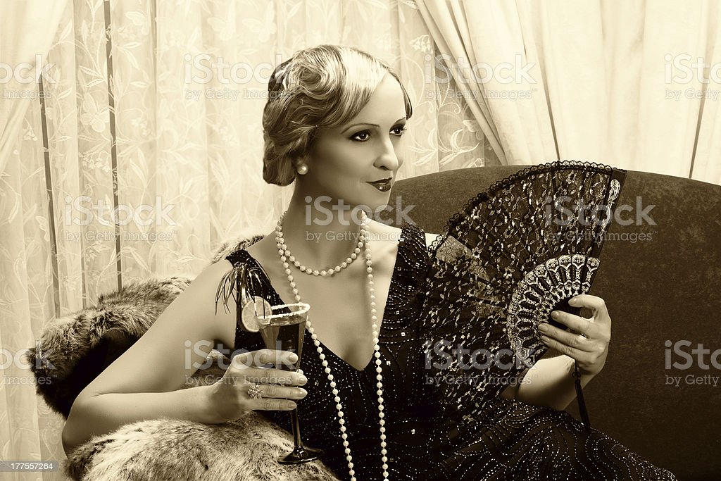 Sepia twenties cocktail stock photo