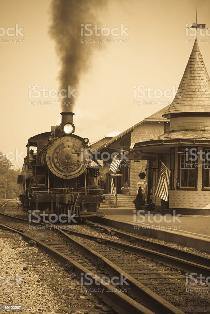 Sepia Vintage Antique Steam Locomotive At Railroad Station royalty-free stock photo