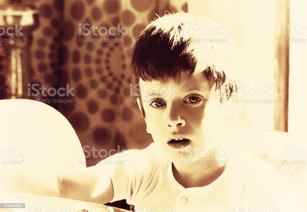 Sepia vintage boy portrait stock photo